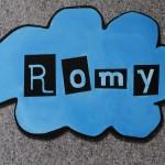 Babybord naam Romy