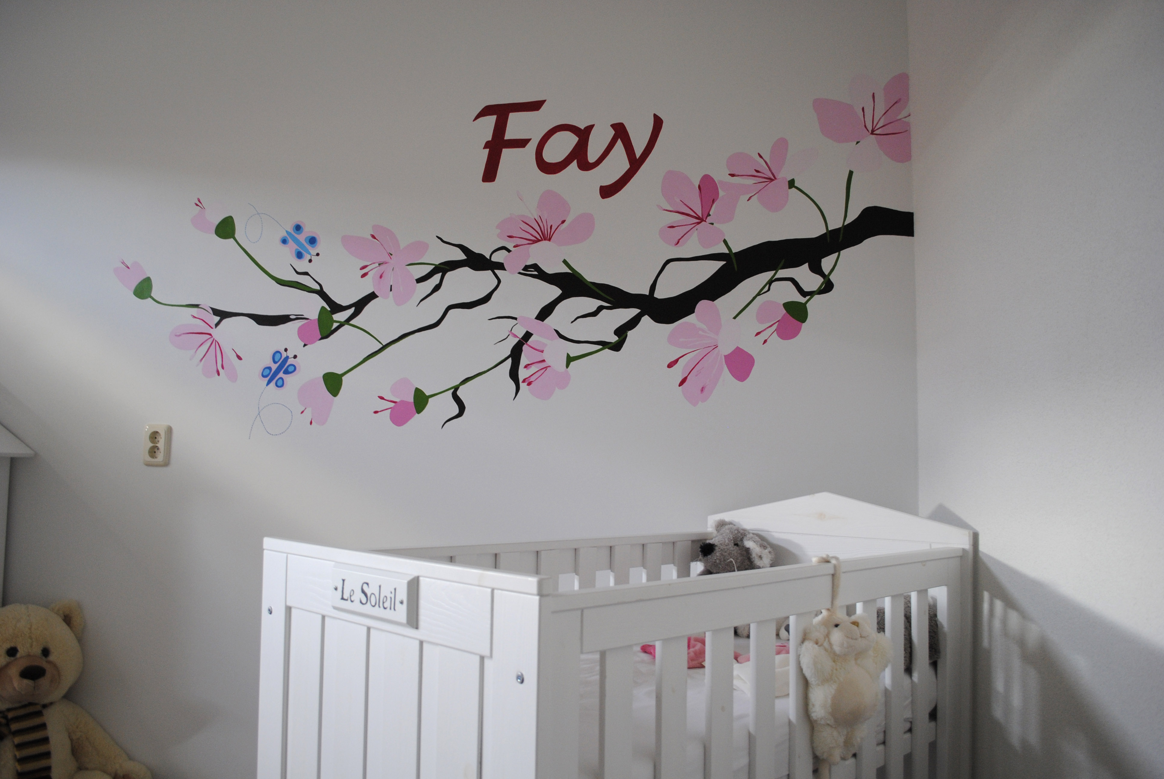 Muur schilderij babykamer for - Grijs muurschildering ...